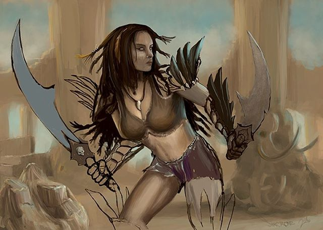 Phase 2 - Digital painting Concept character design in Photoshop #women #amazon #amazonian #warrior #huntress #blade #digital #digitalpainting #wacom #intuos  #cardart #mtg #artists #digitalartists #realism #sketch #conceptcharacter #conceptart #fantastart #drawing #anatomystudy #digitaldrawing #digitalpaintings  #intuosart #magicthegathering #wotc #cardartdesign #conceptartist  #powerful #armor