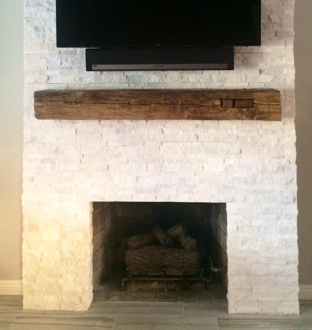 This customer came in with dimensions of their fireplace, picked out a pre-1900's vintage hand hewn beam ,  got the back story on where in the U.S. it was from, chose an oil modified varnish for their finish & it was ready for installation in a week!  It was installed beautifully & accents the stone work of the fireplace perfectly! Come in today & see how  easy it is to give your fire place and living area a fresh look with a piece of U.S. history!