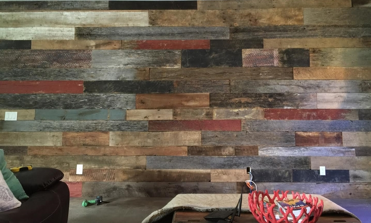 Mixed Reclaimed Wood Accent Wall....Before & After! - U.S. ReclaimedU.S. ReclaimedMixed Reclaimed Wood Accent Wall