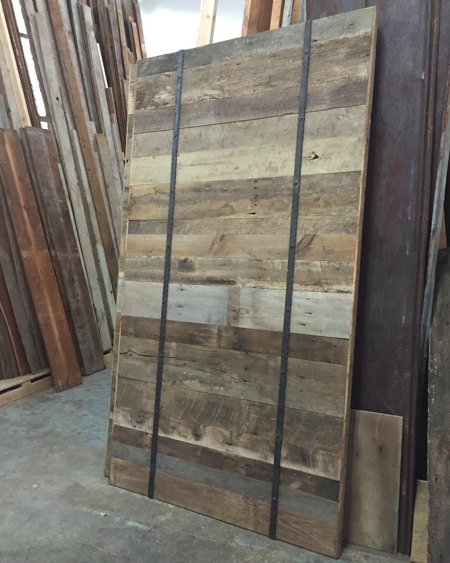 These custom designed & handcrafted reclaimed wood rolling track barn doors will be used as closet doors in new bedroom remodel.  We can't wait to see a pic of them installed & hung in their new home!  This modern design shows how versatile reclaimed wood can be. Barn doors are not just a rustic look they can be used in contemporary design as well & these turned out great!