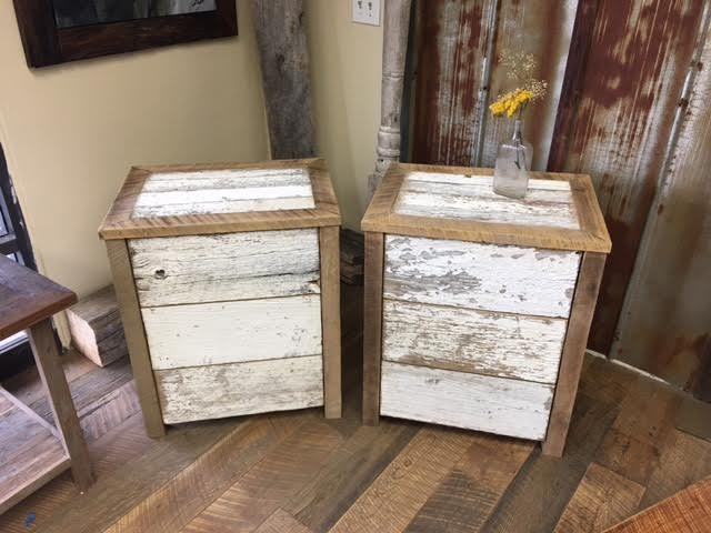These nightstands stand above the rest with the unique age of whitewash reclaimed wood.