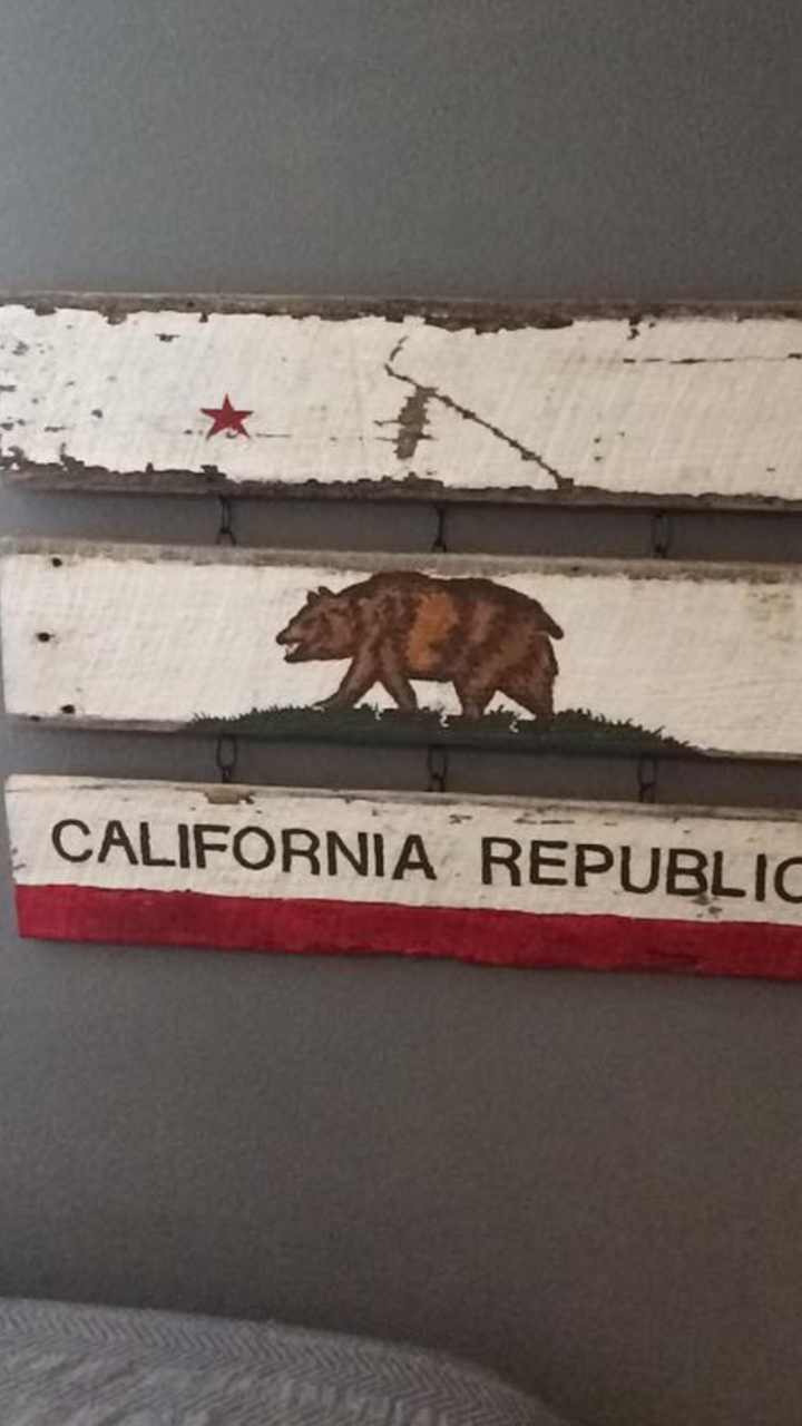 The California Bear Flag was designed by a customer using U.S. Reclaimed Wood.