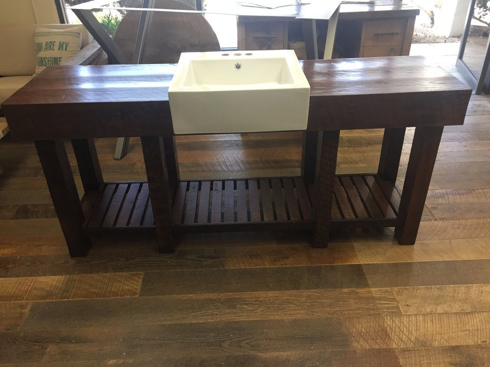 The talented U.S. Reclaimed team custom built this gorgeous vanity. Redesign your bathroom space with a custom vanity made with reclaimed wood. U.S. Reclaimed Vintage Lumber & Wood Works can create and design a vanity that is perfect for your space.