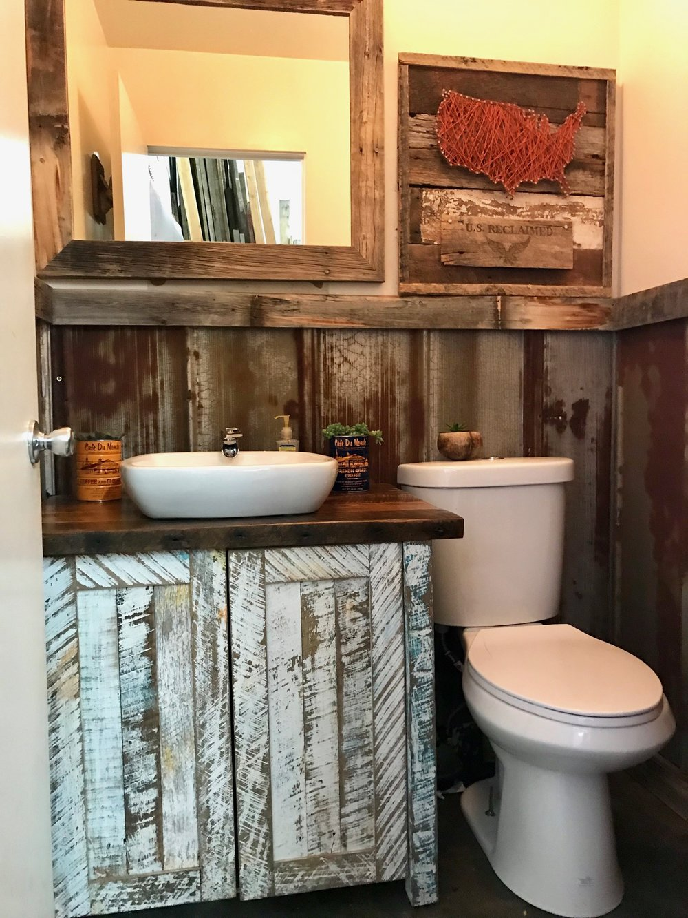 Update any restroom with reclaimed! U.S. Reclaimed, Vintage Lumber and Wood Works offers a variety of reclaimed wood to get started with your vintage projects. Reclaimed wood looks great and works great in any room: including restroom/bathrooms! Visit the store or contact us to get started with your reclaimed wood project; we look forward to working with you!