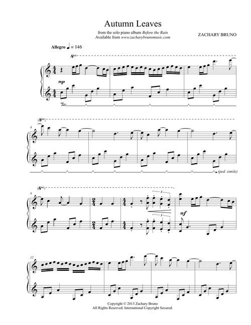 autumn leaves sheet music pdf zachary bruno