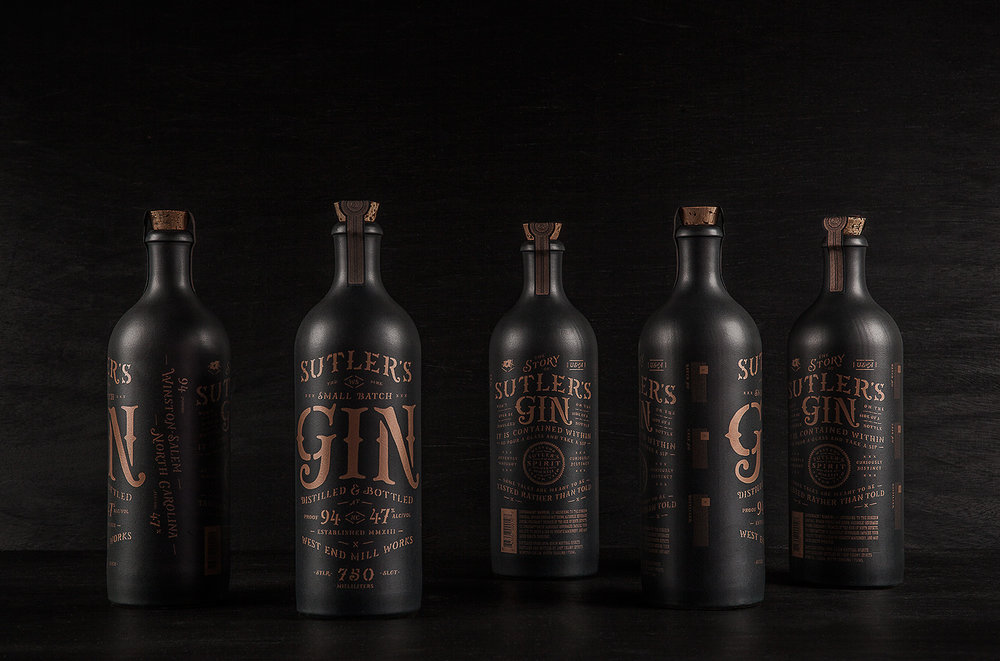 Opaque, corked bottles reference the ceramic vessels once used for housing gin.