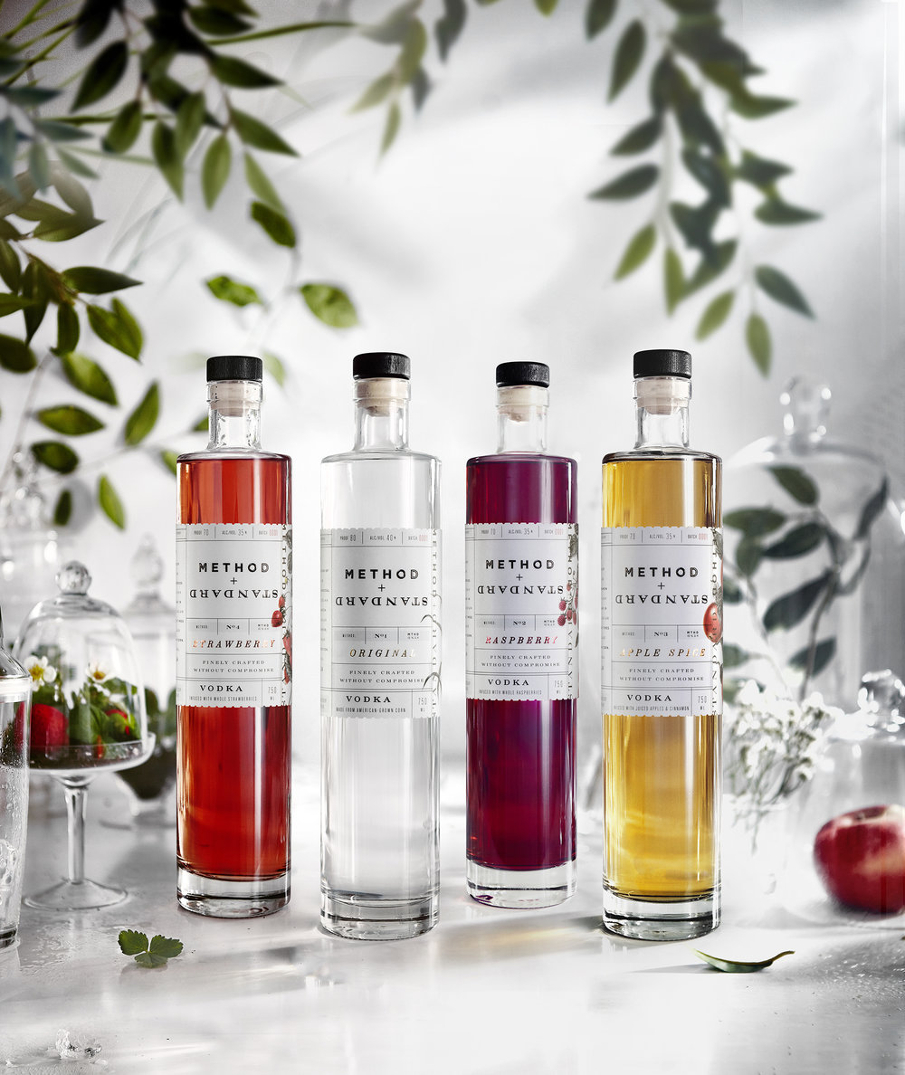 Unadorned, clear bottles showcase the all-natural color of the fruit-infused vodka.