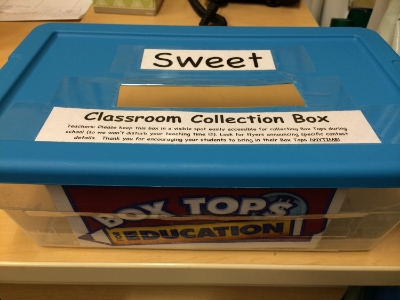 "This is one of our classroom collection boxes to have your child look for when they bring in their Box Tops. We know, it's a totally ""sweet"" box! (we seriously do have a Mr. Sweet though ;-)"