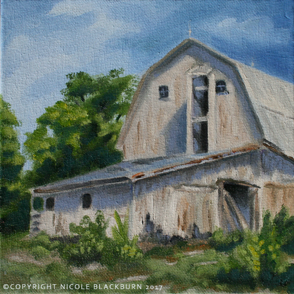 """Behind the Barn""   6 x 6 oil on canvas panel"