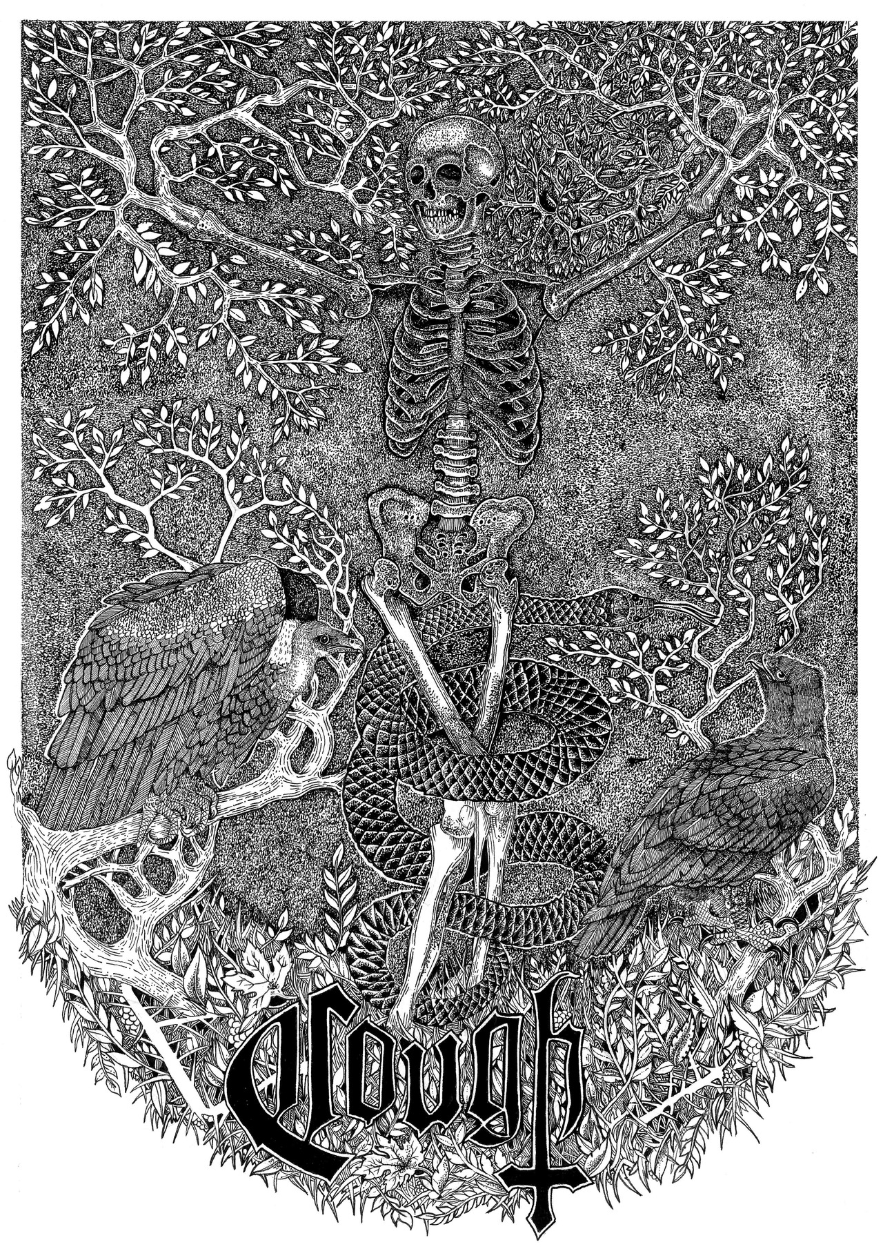 "sin-eater: Here is the full art work for COUGH. The artwork will be available on merch for their forth coming tour. ""The Tree of Knowledge"" pen and ink Sin Eater 2013"