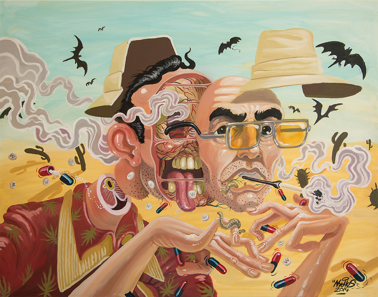 nychos: DISSECTION OF HUNTER S.THOMPSON commissioned work Acrylic on canvas / 2014)