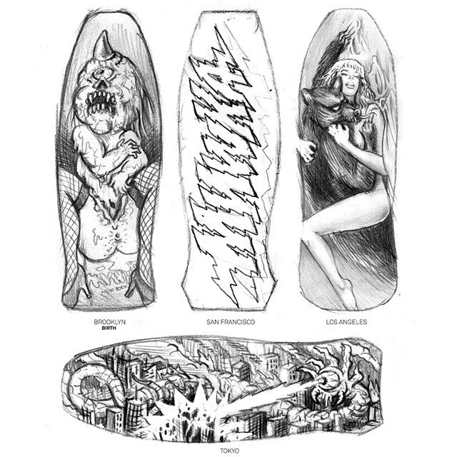 antiblogs: Set of sketches for @mishkagram skate series. Sad this is not going to happen. I guess they ain't into bestiality, holocaust, births and drugs. Their lost. #yaia #sur #0341 #skate #pencilsupremacy