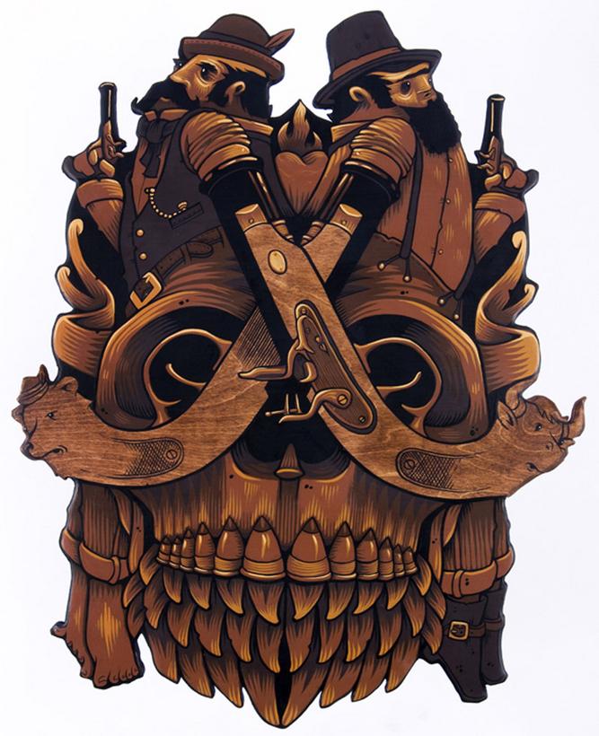 darksilenceinsuburbia: Jeremy Fish. The Last Duel, 2008. Acrylic on wood. http://www.sillypinkbunnies.com/