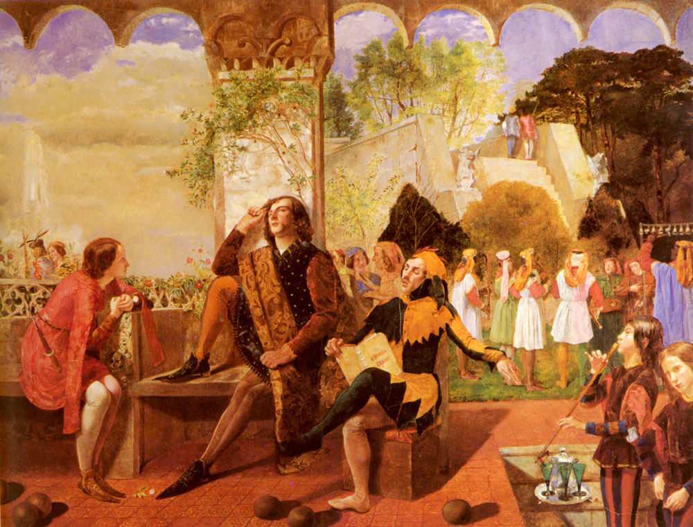 Twelfth Night, by Walter Howell Deverell. Lizzie Siddal was the model for the pageboy.