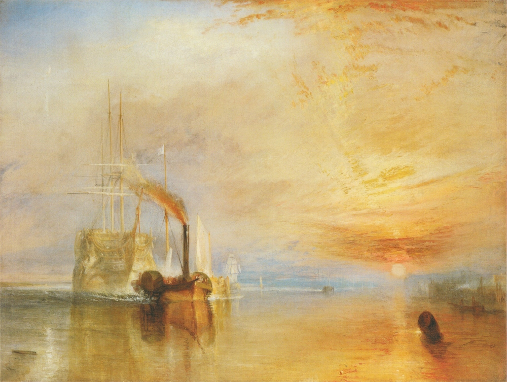 The Fighting Temeraire, by J.M.W. Turner (1838).  Despite being a celebrated member of the Royal Academy, Turner's use of light in his paintings was unusual for his time.