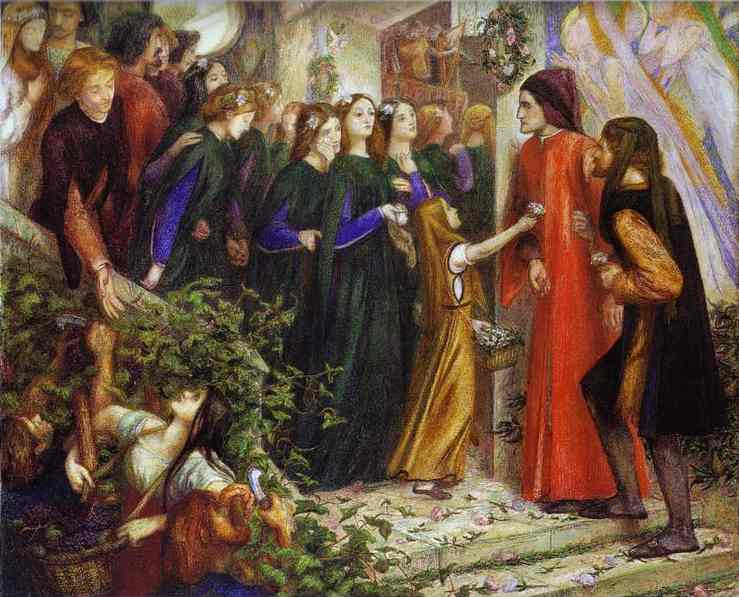 Beatrice Meeting Dante at a Marriage Feast, Denies Him Her Salutation, by Dante Gabriel Rossetti. Lizzie Siddal was the model for Beatrice.