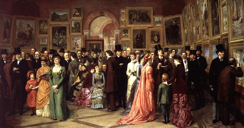 A Private View at the Royal Academy, by William Powell Frith. Painted after Lizzie's time, this painting illustrates a reception at the Royal Academy's Summer Exhibition.