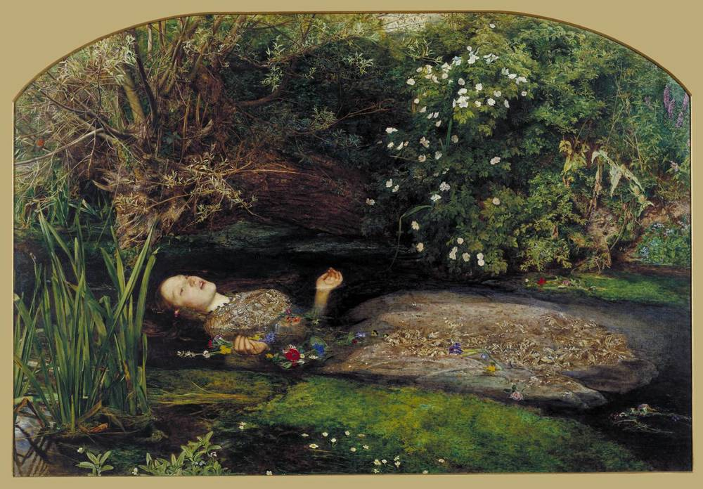 Ophelia, by John Everett Millais.  Lizzie Siddal was the model for Ophelia, and became ill after staying too long in a tub of cold water in order to create a realistic model for the painting.