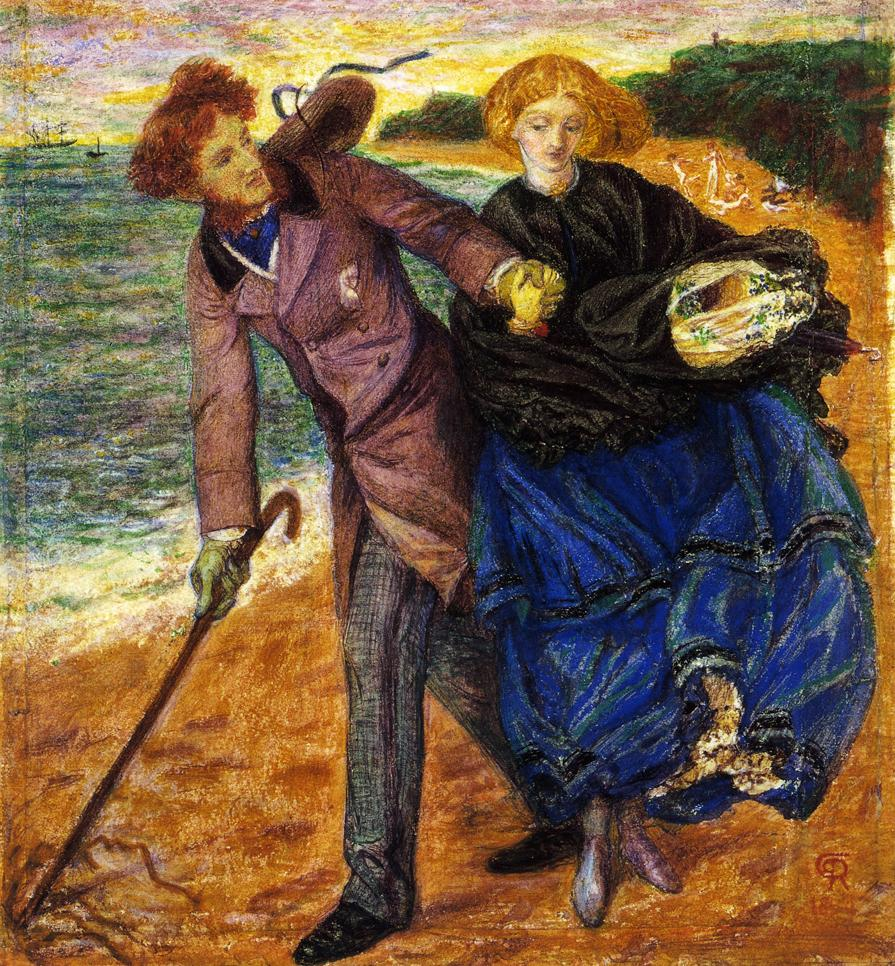 Writing on the Sand, by Dante Gabriel Rossetti, depicts two lovers at the seaside. Siddal may have been the model for the woman.