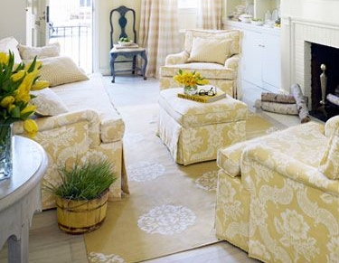 Marshall Damask Yellow/ House Beautiful Aug. 2014/ Mary Douglas Drysdale