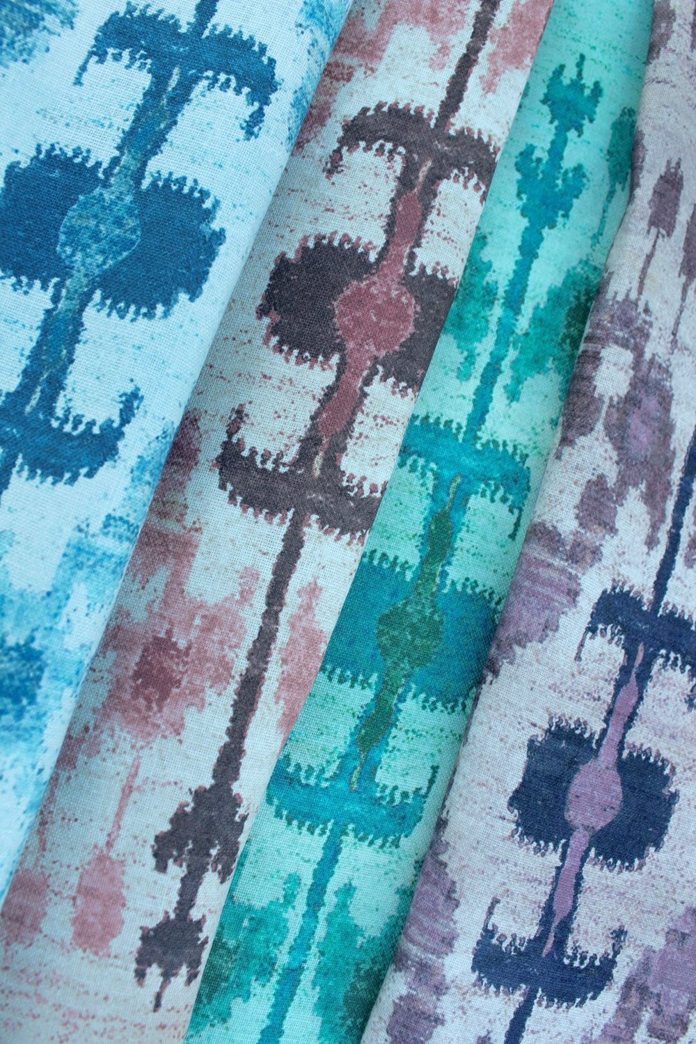 """Maderas"" is a vibrant ikat print inspired by travels to Nicaragua's Playa Maderas."