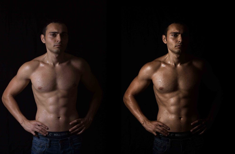 Side by side comparison of the photo straight out of camera and the final edit. As you can see, the abs are really his :)