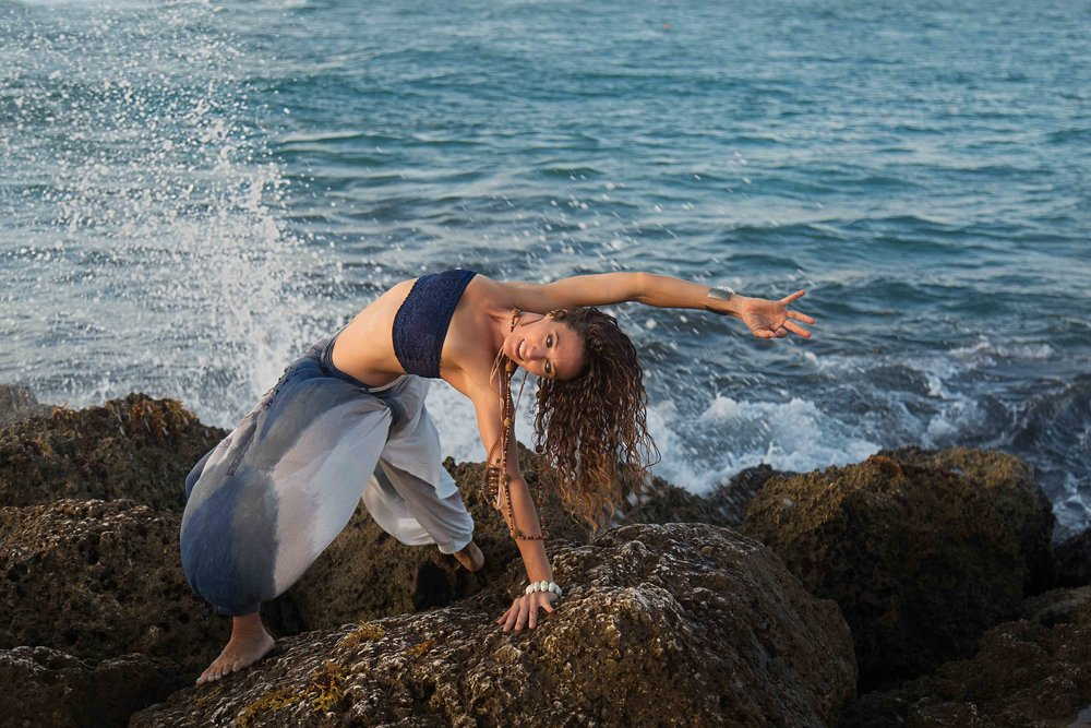backwards bend yoga waves splashing