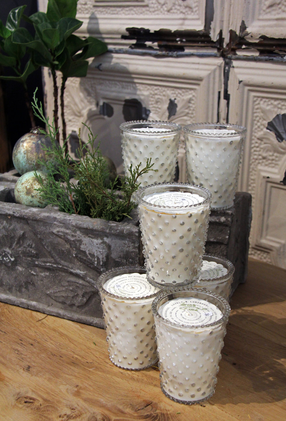 Fern scented hobnail candles…good smells and good decor!