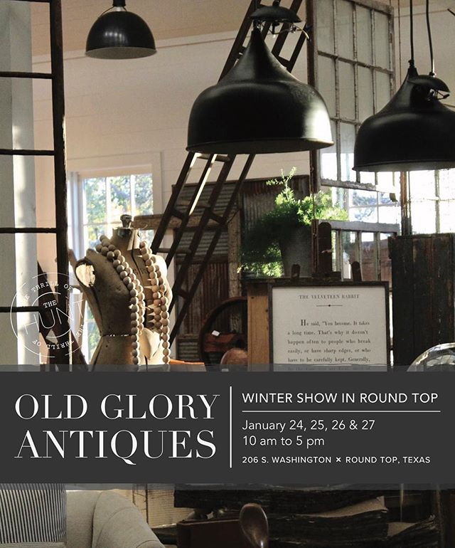 Save the date! Old Glory Texas is gearing up for the Winter Show in Round Top coming up in just a few weeks. More sneak peeks to come! . January 24, 25, 26 & 27 . #oldglorystyle #oldgloryantiques #shopsmall #texasantiques #roundtop #roundtoptx #goingtoroundtop #antiques