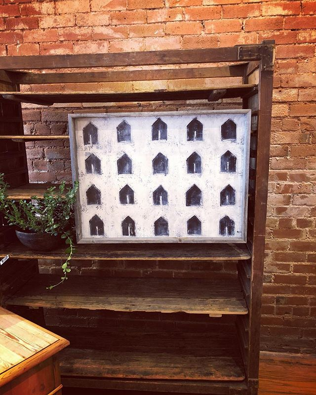 It's been a busy and exciting day at Old Glory Denver, rearranging the store and bringing in our favorite fresh finds. We love this wooden storage piece, the perfect backdrop for our new @marygregorystudio art! . #oldglorystyle #oldgloryantiques #shopoldglory #shopsmall #oldglorydenver #southbroadway #denverantiques #denverdesign #homedecor #antiques