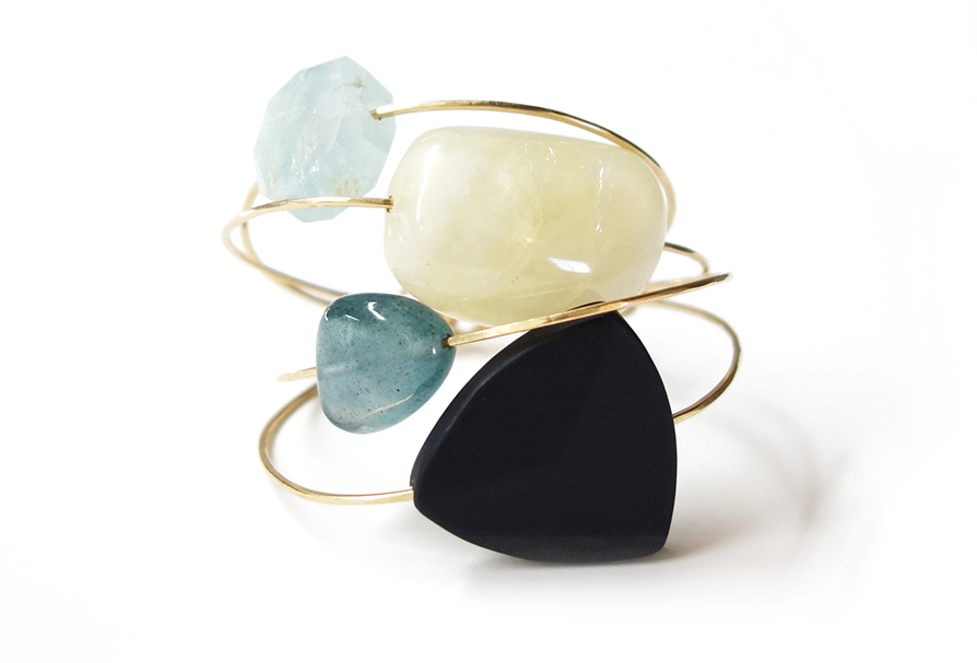 THE STONE COLLECTION   A palette of inspired stones in natural shapes suspended on fine gold wire.    View this collection.