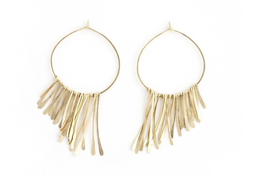 THE FRINGE COLLECTION   Tapered 14k gold-filled hammered fringes on wrapped leather or gold hoops.     View this collection.
