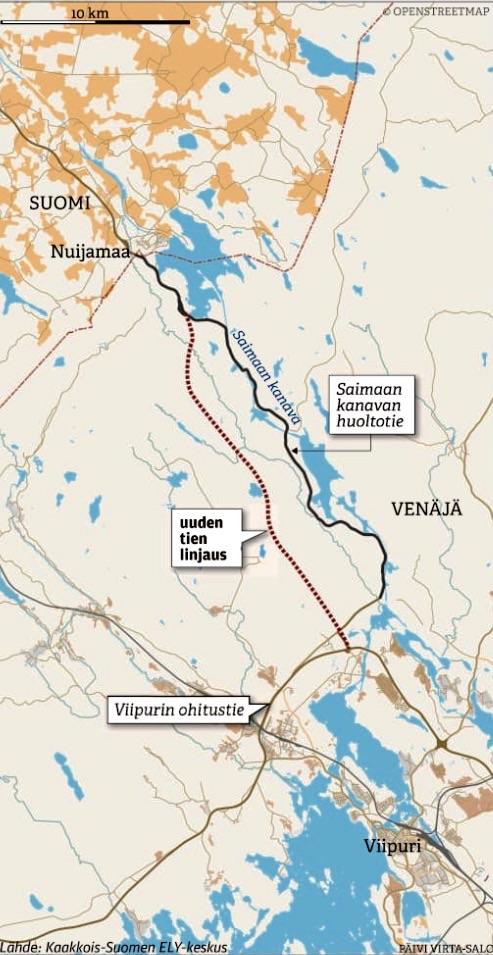 Новая дорога между Выборгом и Лаппенрантой показана красной линией