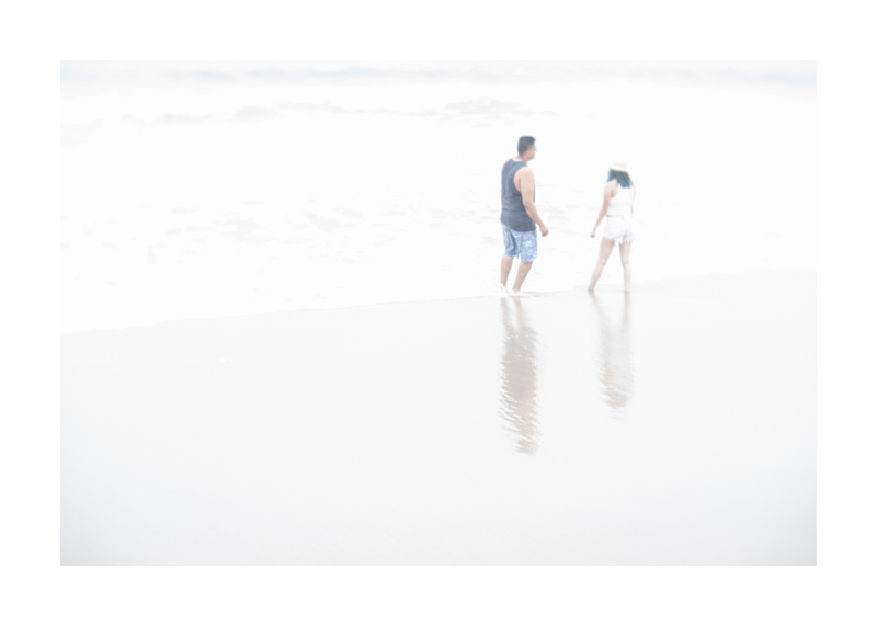 White sea with couple