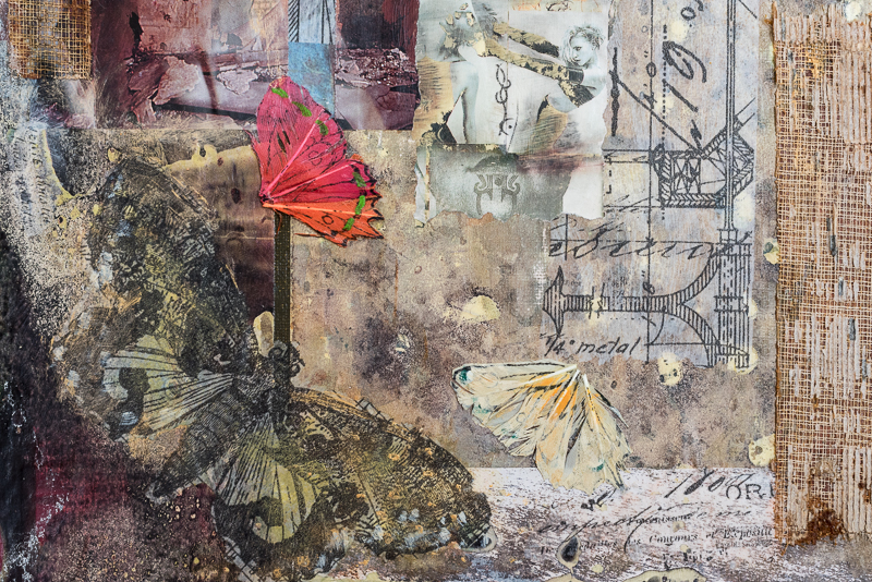 "Detail from ""Her head is full of butterflies"". Collage: Paper, old books, nylon, napkins, acrylic color."