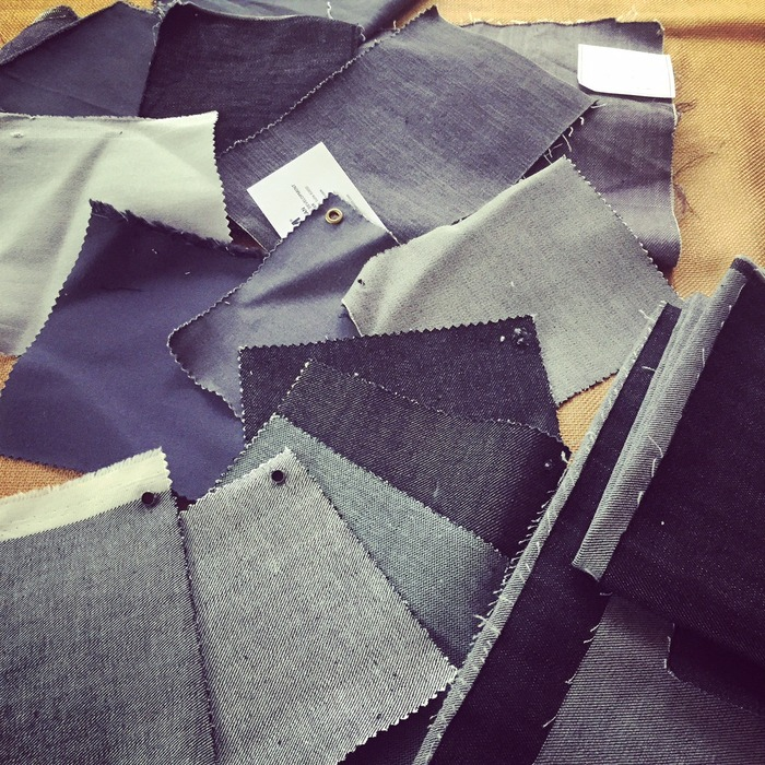 A sampling of the dozens of gray cotton-twill fabrics/ finishes that we've evaluated for final production