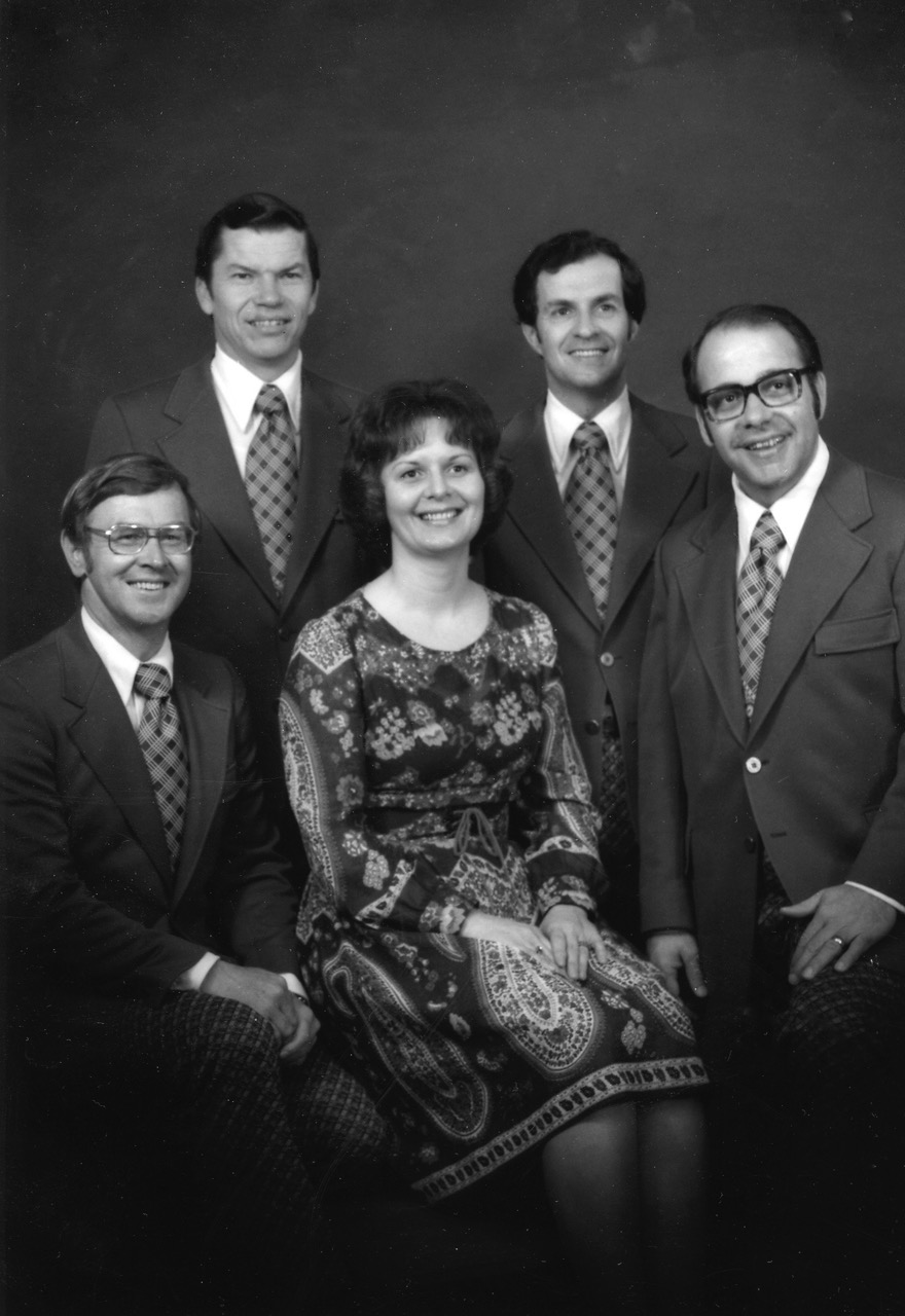 From left to right: Harold McCracken, Duane King, Dixie Burkum, Bob Chitwood, Lowell Burkum