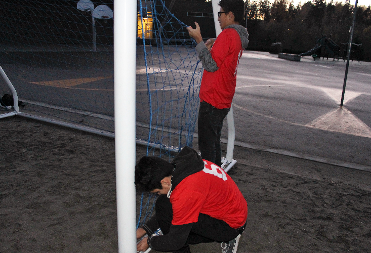 Fernando and Yahir teamed to accomplish repairs of the goal nets.