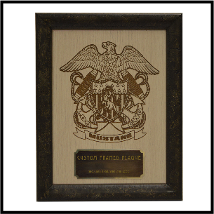 """Plaque Style 4  9x12"""" Framed w/ 1 Logo (2x5"""" Engavable Plate)"""