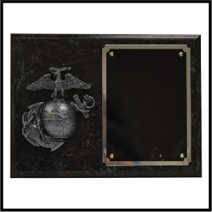 "Plaque Style 6  12x9"" Marble w/ EGA (5x7"" Engravable Plate)"