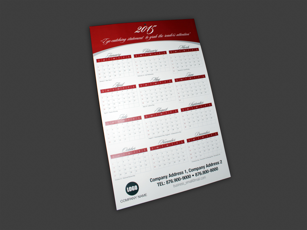 "Calendar | Hanging 12"" x 18"" on cardstock (hole punched)"