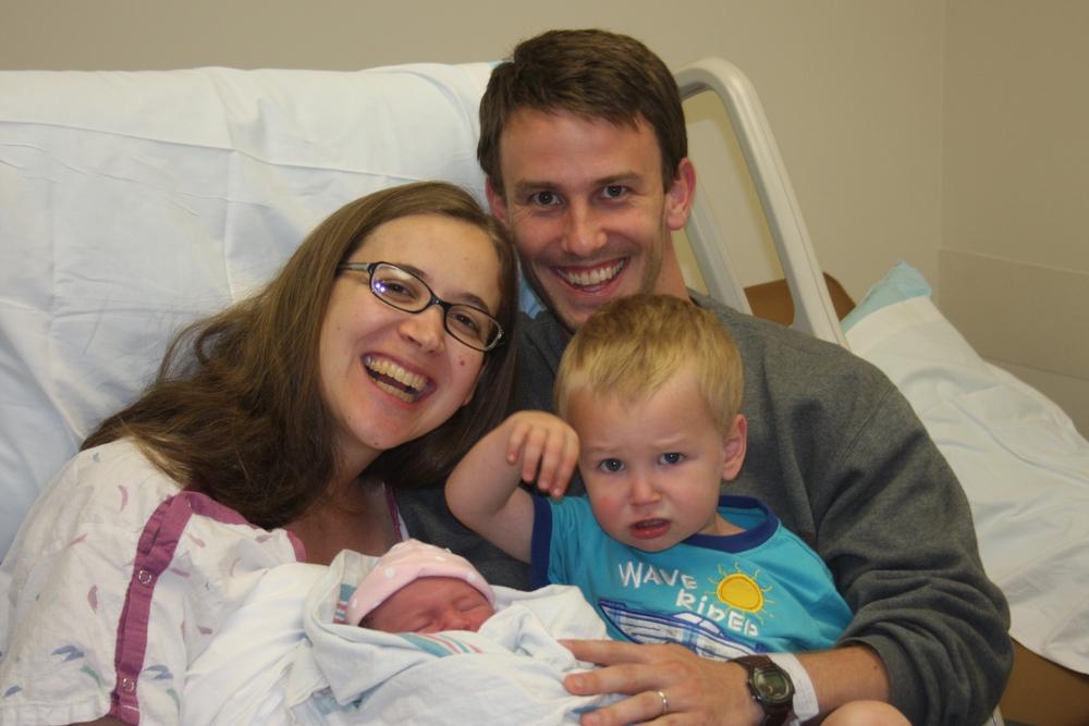 Sarah, David, and Noah at Elsa's birth.