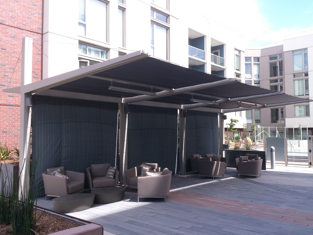 Pool side shade structure
