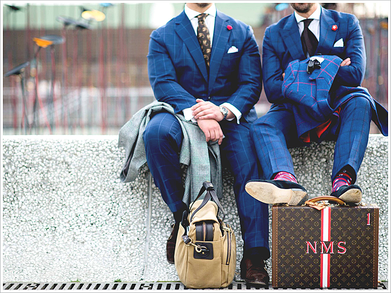 Reinvent the traditional navy suit with window pane patterns, perfect for weddings and beyond!