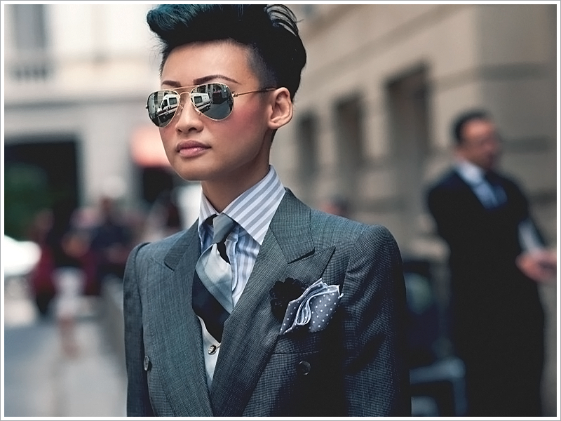 Esther Quek; Striped Tie