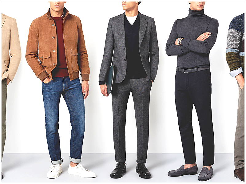 Mr. Porter // Focus: Suede Jacket (Far Left), Suit and Sweater Combo (Middle), and                                                              Turtleneck and Loafers (Far Right)