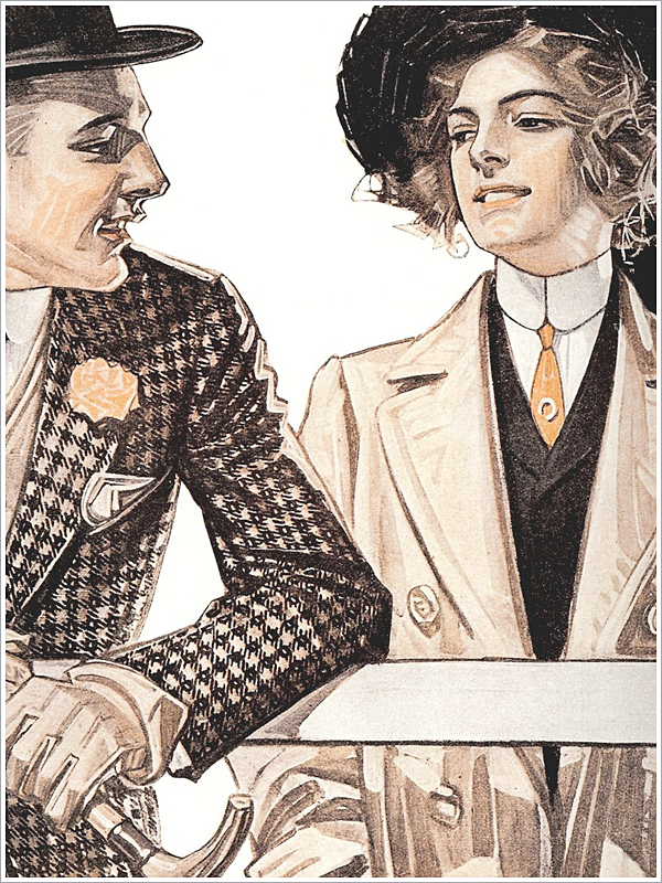 Artist: J.C. Leyendecker // Focus: We love the lady rockin' the topcoat!