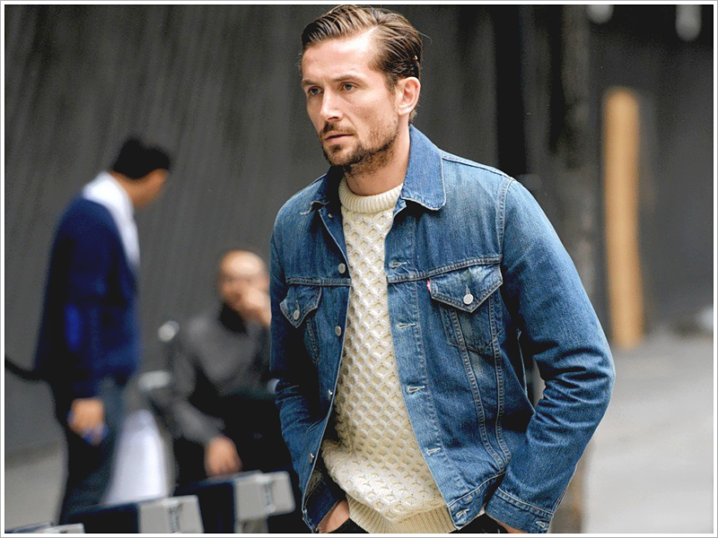 Blogger, The Idle Man // Focus: His waffle sweater and denim jacket combo!