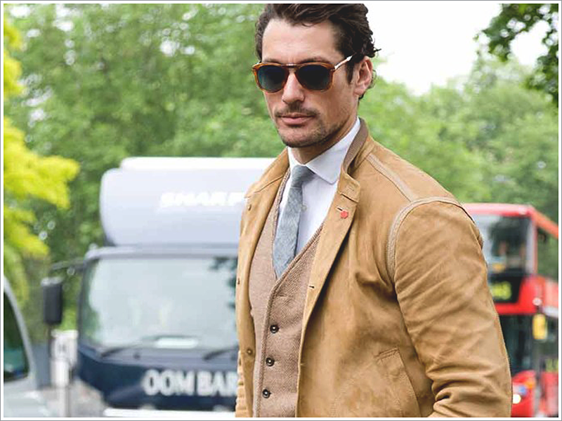 David Gandy in a suede bomber jacket