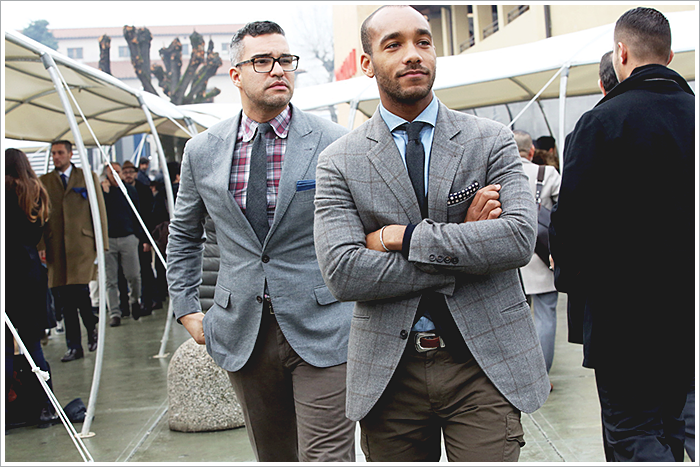 Pitti Uomo // Focus: Plaid (on the left) and window-pane (on the right).